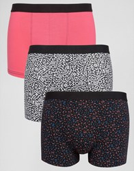 New Look Trunks In Pink 3 Pack Bright Pink
