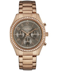 Caravelle New York By Bulova Women's Chronograph Rose Gold Tone Stainless Steel Bracelet Watch 36Mm 44L195