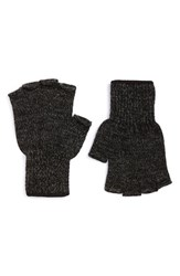 Men's Upstate Stock 'Ragg' Fingerless Wool Blend Knit Gloves Black Black Melange