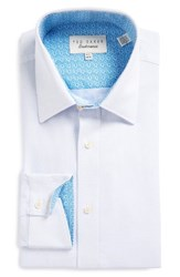 Ted Baker Men's Big And Tall London Falcon Trim Fit Solid Dress Shirt Blue