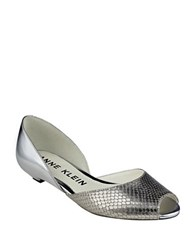 Anne Klein Fanetta Leather Slip On Dress Flats Silver