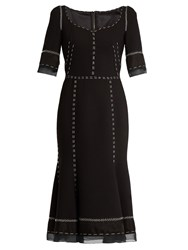 Dolce And Gabbana Whipstitched Wool Blend Cady Dress Black