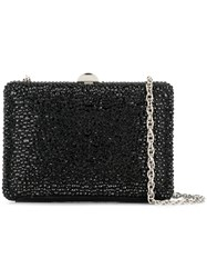 Rodo Crystal Embellished Box Clutch Black