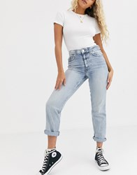 River Island Distressed Mom Jeans In Light Wash Blue