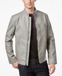 Alfani Men's Faux Leather Slim Fit Jacket Only At Macy's Grey