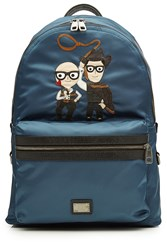 Dolce And Gabbana Fabric Backpack With Leather Blue
