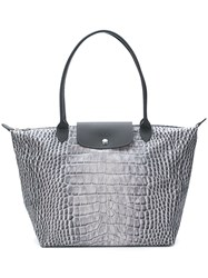 Longchamp Snakeskin Print Tote Bag Grey