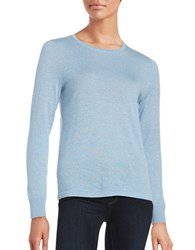 Lord And Taylor Petite Crewneck Merino Wool Sweater Blue Shell Heather