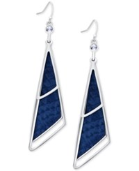 Guess Silver Tone And Blue Imitation Python Triangle Drop Earrings