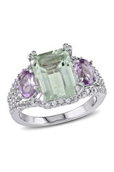 Sterling Silver Green Amethyst Rose De France And Created White Sapphire Ring