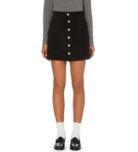 Alexa Chung For Ag The Gove Button Up Suede Skirt Suede Super Black