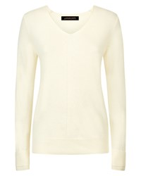 Jaeger Cashmere Double Trim Sweater White