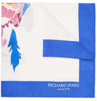 Richard James Parrot Print Silk Pocket Square White