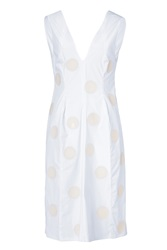 Jil Sander White Stretch Cotton Dress With Dot Applique White