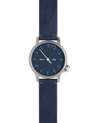 Miansai Stainless Steel Watch With Leather Strap Navy