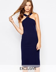 Twin Sister Midi Pencil Dress With Square Neck Navy