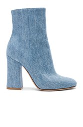 Gianvito Rossi Denim Shelly Booties In Blue
