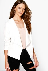 Boohoo Textured Waterfall Jacket Cream