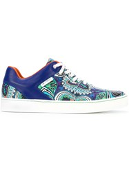 Etro Printed Low Top Sneakers Men Leather Polyamide Rubber 41 Blue