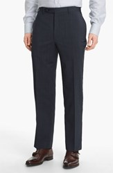 Canali Men's Big And Tall Flat Front Wool Trousers Navy
