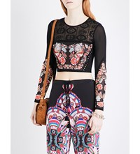 Roberto Cavalli Floral Embroidered Knitted Cropped Top Blk Multi