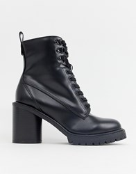 Faith Barc Heeled Hiker Boots In Black