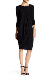 Go Couture Long Sleeve Draped Bubble Hem Dress Black