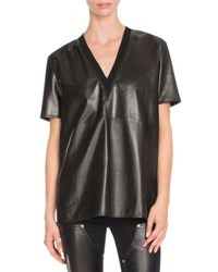 Givenchy Short Sleeve V Neck Leather Tee Black