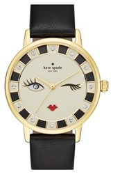 Women's Kate Spade New York 'Metro Kiss' Leather Strap Watch 34Mm Black Cream
