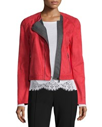 Elie Tahari Luana Suede Jacket With Bonded Jersey Detail Red