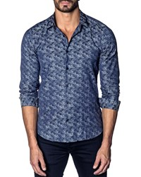 Jared Lang Modern Fit Camo Print Long Sleeve Shirt Blue Camo