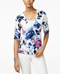 Inc International Concepts Petite Elbow Sleeve Floral Print Cardigan Only At Macy's Spring Breeze