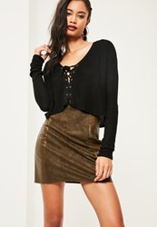 Missguided Black Slouchy Lace Up Knitted Crop Jumper