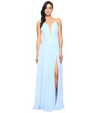 Faviana Chiffon V Neck Gown W Full Skirt 7747 Cloud Blue Women's Dress