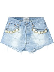 Forte Couture Pearl Detail Distressed Mini Shorts Blue