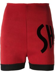 Jean Paul Gaultier Vintage Letter Applique Shorts Red