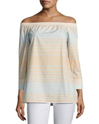 Lafayette 148 New York Amy Striped Off The Shoulder Cotton Blouse Multi Sky Blue Multi