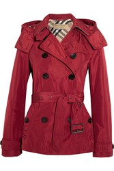 Burberry Brit Hooded Shell Trench Coat Red