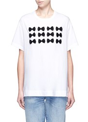 Tu Es Mon Tresor Ribbon Applique Jersey T Shirt White