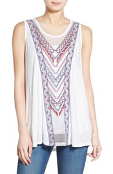Junior Women's Sun And Shadow Embroidered Mesh Inset Tank