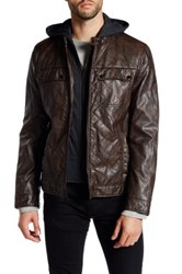 Kenneth Cole Hooded Faux Leather Zip Jacket Brown