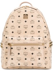 Mcm Logo Print Studded Backpack Neutrals