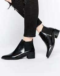 Warehouse Flat Leather Ankle Boot Black