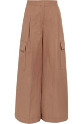 Msgm Cotton Twill Wide Leg Pants Tan