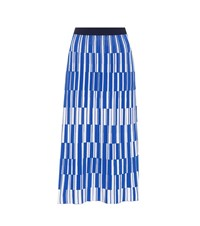 Tory Sport Motley Check Pleated Knit Skirt Blue