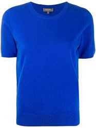 N.Peal Short Sleeved Cashmere Top Blue