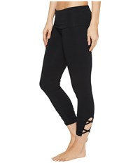 Hard Tail Contour Rolldown Wrap Around Capri Leggings Black Women's Workout
