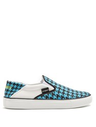 Vetements Houndstooth Print Slip On Trainers Blue