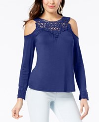 Thalia Sodi Cold Shoulder Crochet Yoke Top Created For Macy's Royal Blueberry