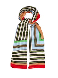 Jonathan Saunders Stripe Print Modal And Cashmere Blend Scarf